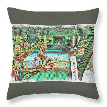 Temple Flowers Throw Pillow