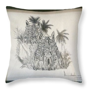 Temple In Calligraphy Ink Throw Pillow