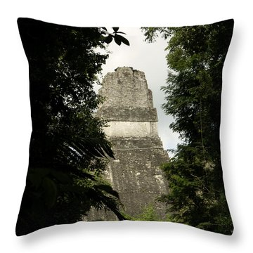 Temple In The Trees Tikal Guatemala Throw Pillow