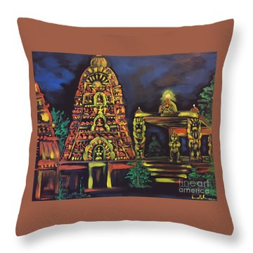 Temple Lights In The Night Throw Pillow by Brindha Naveen