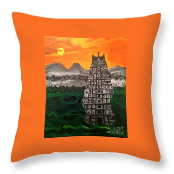 Temple Near The Hills Throw Pillow