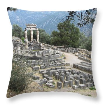 Temple Of Athena At Delphi Throw Pillow
