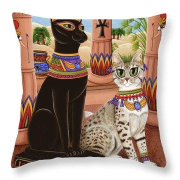 Temple Of Bastet - Bast Goddess Cat Throw Pillow