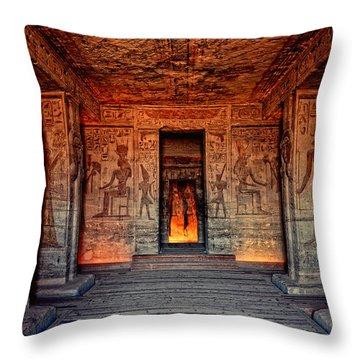Temple Of Hathor And Nefertari Abu Simbel Throw Pillow by Nigel Fletcher-Jones
