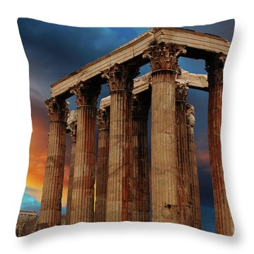 Temple Of Olympian Zeus Throw Pillow by Bob Christopher