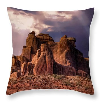 Temple Of Red Stone Throw Pillow