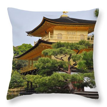 Temple Of The Golden Pavilion Throw Pillow