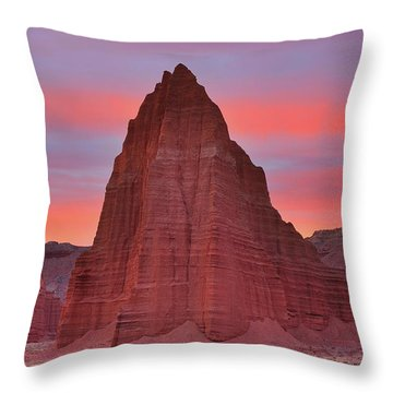 Temple Of The Sun And Moon At Sunrise At Capitol Reef National Park Throw Pillow