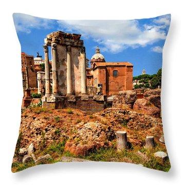 Temple Of Vesta Throw Pillow by Anthony Dezenzio