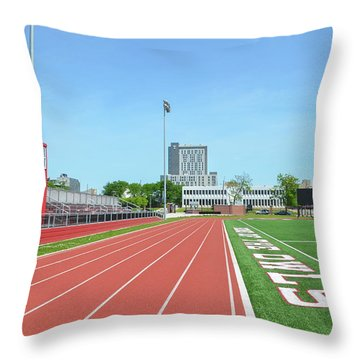 Temple Owls - Dan And Shelley Boyce Track Throw Pillow by Bill Cannon