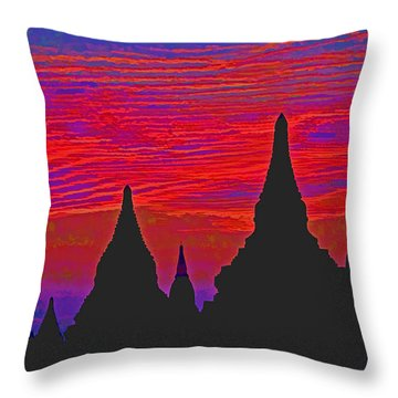 Throw Pillow featuring the photograph Temple Silhouettes by Dennis Cox WorldViews