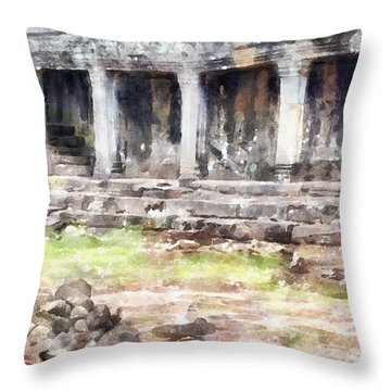 Temples At Angkor Throw Pillow by Shirley Stalter