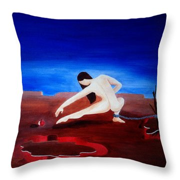 Temptation And Ancestral Fear Of Hell Throw Pillow