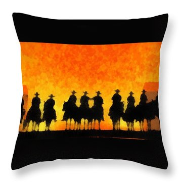 Ten Cowboys Throw Pillow