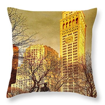 Throw Pillow featuring the photograph Ten Past Four At Madison Square Park by Chris Lord