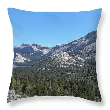 Tenaya Lake And Surrounding Mountains Yosemite National Park Throw Pillow