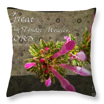 Tender Mercies Throw Pillow by Debbie Portwood