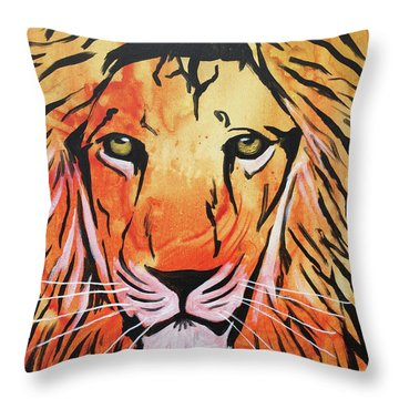 Throw Pillow featuring the painting Tenderhearted Warrior by Nathan Rhoads