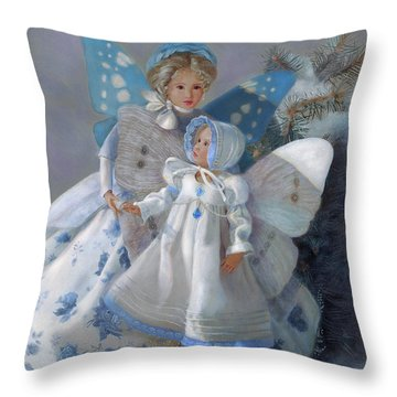 Throw Pillow featuring the painting Tenderness Snow Fairies by Nancy Lee Moran