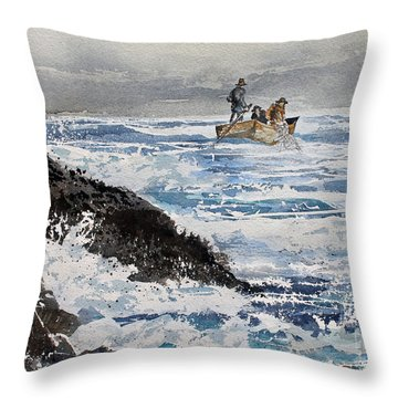 Tending The Net Throw Pillow by Monte Toon