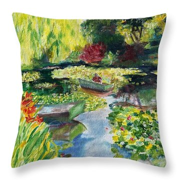 Tending The Pond Throw Pillow