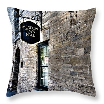 Mendon Town Hall Throw Pillow by William Norton