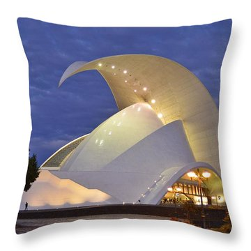 Tenerife Auditorium At Dusk Throw Pillow by Marek Stepan
