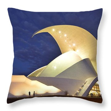 Tenerife Auditorium At Night Throw Pillow by Marek Stepan