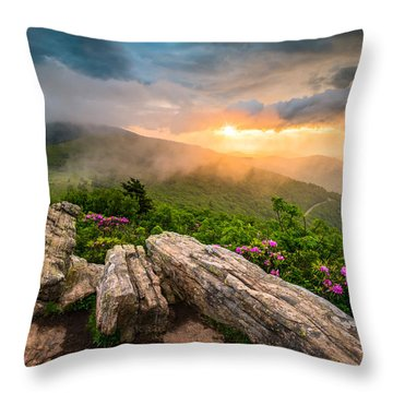 Tennessee Appalachian Mountains Sunset Scenic Landscape Photography Throw Pillow