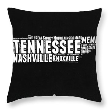 Tennessee Black And White Word Cloud  Map Throw Pillow