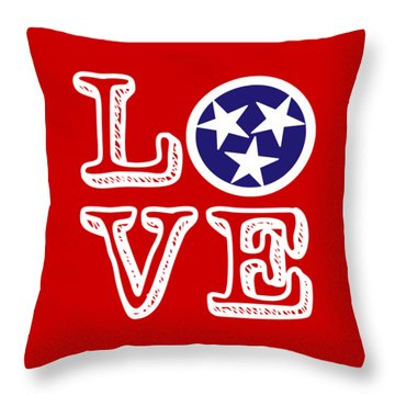 Throw Pillow featuring the digital art Tennessee Flag Love by Heather Applegate