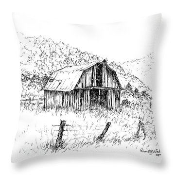 Tennessee Hills With Barn Throw Pillow