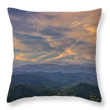 Tennessee Mountains Sunset Throw Pillow