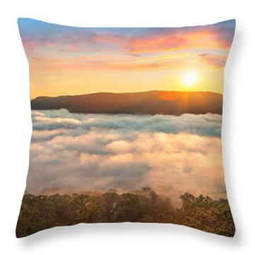 Tennessee River Gorge Morning Fog Throw Pillow by Steven Llorca