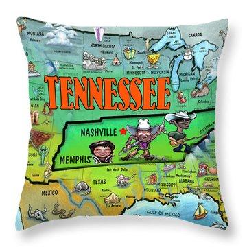 Tennessee Usa Cartoon Map Throw Pillow