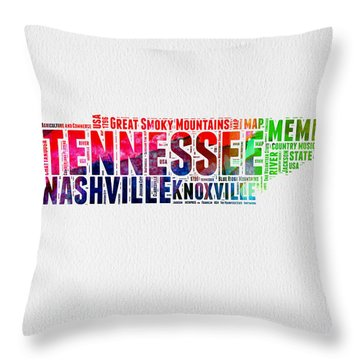 Tennessee Watercolor Word Cloud Map  Throw Pillow
