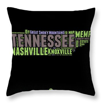 Tennessee Word Cloud Map 1 Throw Pillow