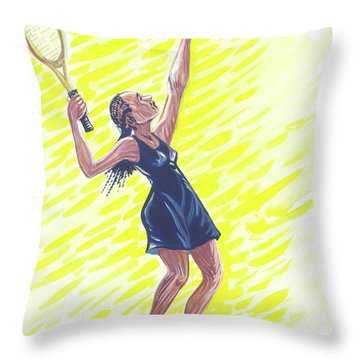 Tennis 01 Throw Pillow by Emmanuel Baliyanga