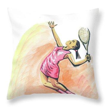 Tennis 03 Throw Pillow by Emmanuel Baliyanga