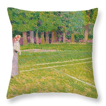 Tennis At Hertingfordbury Throw Pillow by Spencer Frederick Gore