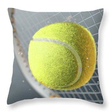 Tennis Ball Striking Racqet In Slow Motion Throw Pillow