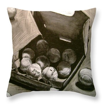 Tennis Balls In A Pizza Box Precisely Throw Pillow by Nils Beasley