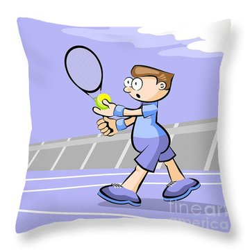 Tennis Player With Ball In Hand Ready To Make A Serve Throw Pillow