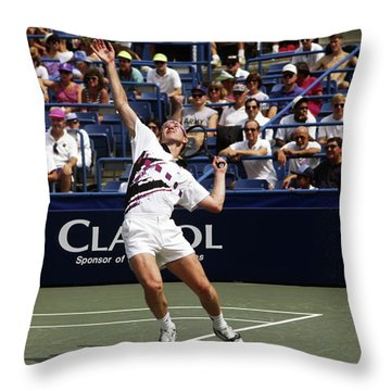 Tennis Serve Throw Pillow by Sally Weigand