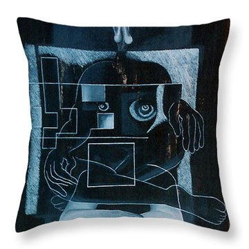 Throw Pillow featuring the painting Tense Leisure by Fei A