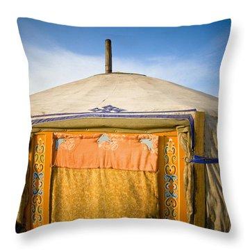 Tent In The Desert Ulaanbaatar, Mongolia Throw Pillow by David DuChemin