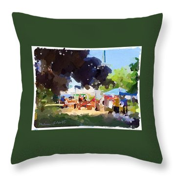 Tents And Church Steeple At Rockport Farmers Market Throw Pillow