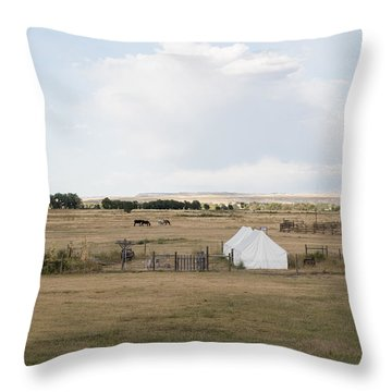 Throw Pillow featuring the photograph Tents At Fort Laramie National Historic Site In Goshen County by Carol M Highsmith