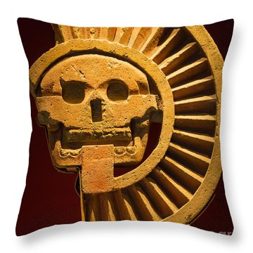 Teotihuacan Skull Throw Pillow