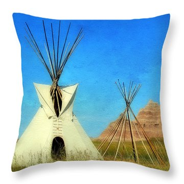 Tepee In Badlands Throw Pillow